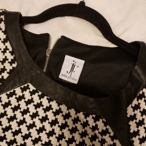 Dresses - Houndstooth & faux leather dress